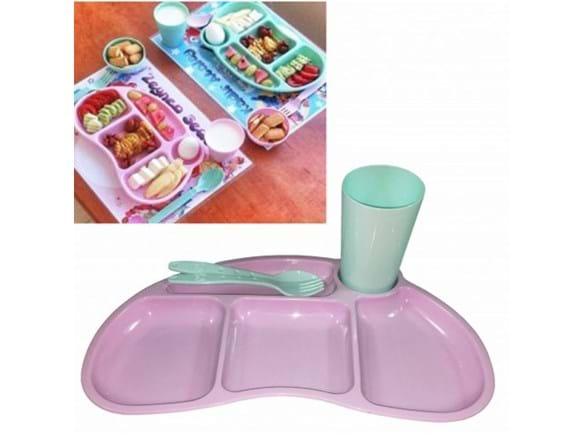 Needion - Tabldot Çocuk Yemek Plastik Tabldot Set 4 Parça - Bölmeli Bardak Çatal Kaşıklı