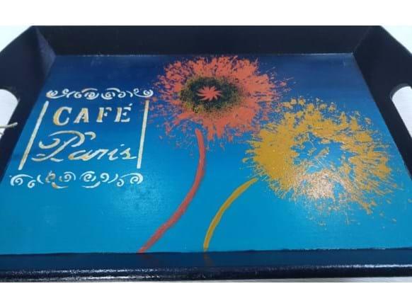Needion - Cafe Paris Yazılı Ahşap Tepsi